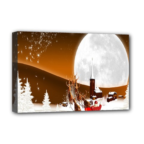 Santa Claus Christmas Moon Night Deluxe Canvas 18  X 12   by Alisyart
