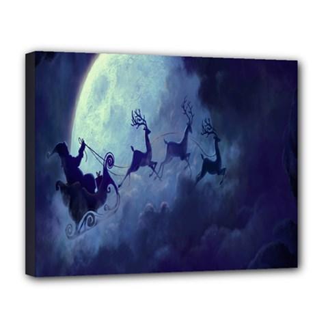 Santa Claus Christmas Night Moon Happy Fly Canvas 14  X 11  by Alisyart