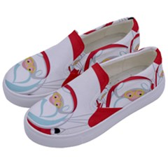 Skydiving Christmas Santa Claus Kids  Canvas Slip Ons by Alisyart