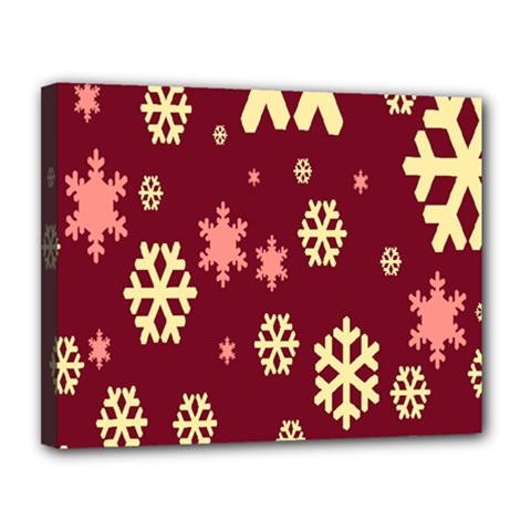 Snowflake Winter Illustration Colour Canvas 14  X 11  by Alisyart