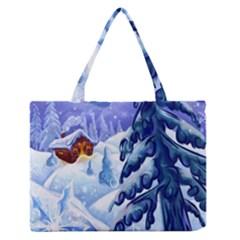 Christmas Wooden Snow Zipper Medium Tote Bag by Alisyart
