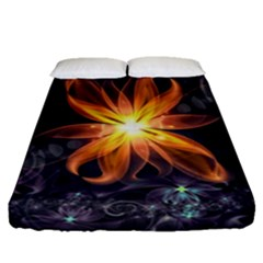 Beautiful Orange Star Lily Fractal Flower At Night Fitted Sheet (queen Size) by beautifulfractals