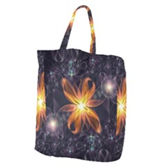 Beautiful Orange Star Lily Fractal Flower At Night Giant Grocery Zipper Tote by beautifulfractals