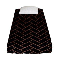 Brick2 Black Marble & Brown Denim (r) Fitted Sheet (single Size) by trendistuff