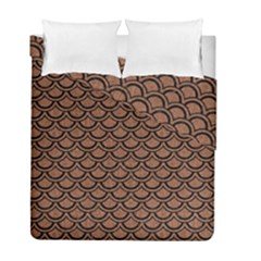 Scales2 Black Marble & Brown Denim Duvet Cover Double Side (full/ Double Size) by trendistuff