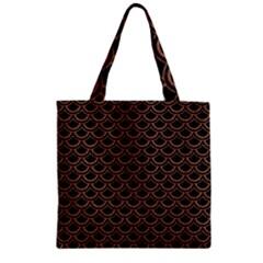 Scales2 Black Marble & Brown Denim (r) Zipper Grocery Tote Bag by trendistuff