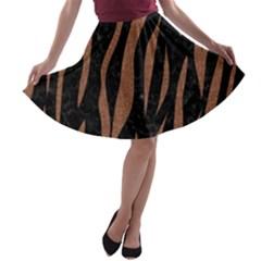 Skin3 Black Marble & Brown Denim (r) A Line Skater Skirt by trendistuff