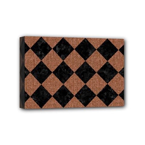 Square2 Black Marble & Brown Denim Mini Canvas 6  X 4  by trendistuff