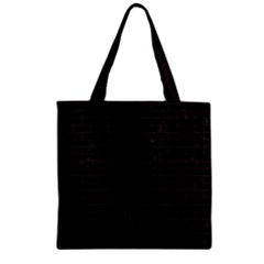 Brick1 Black Marble & Dark Brown Wood (r) Zipper Grocery Tote Bag by trendistuff