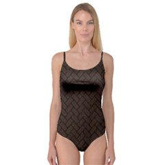 Brick2 Black Marble & Dark Brown Wood Camisole Leotard  by trendistuff