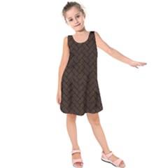 Brick2 Black Marble & Dark Brown Wood Kids  Sleeveless Dress by trendistuff