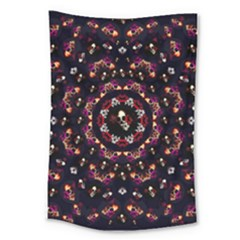 Floral Skulls In The Darkest Environment Large Tapestry