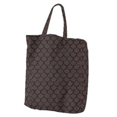 Scales1 Black Marble & Dark Brown Wood Giant Grocery Zipper Tote by trendistuff