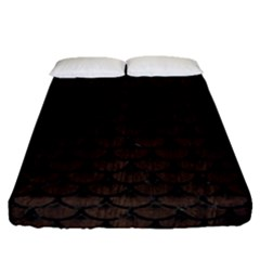 Scales3 Black Marble & Dark Brown Wood Fitted Sheet (queen Size) by trendistuff