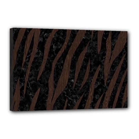 Skin3 Black Marble & Dark Brown Wood (r) Canvas 18  X 12  by trendistuff