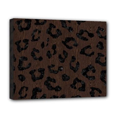 Skin5 Black Marble & Dark Brown Wood (r) Deluxe Canvas 20  X 16   by trendistuff