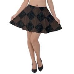 Square2 Black Marble & Dark Brown Wood Velvet Skater Skirt
