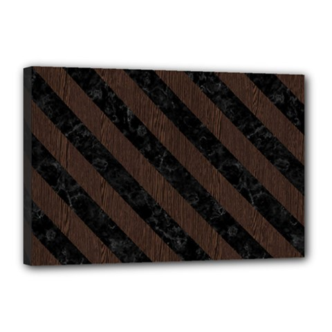 Stripes3 Black Marble & Dark Brown Wood Canvas 18  X 12  by trendistuff