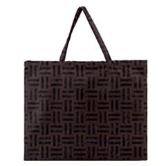 Woven1 Black Marble & Dark Brown Wood Zipper Large Tote Bag by trendistuff