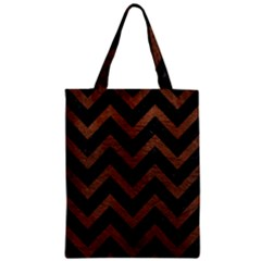Chevron9 Black Marble & Dull Brown Leather (r) Zipper Classic Tote Bag by trendistuff