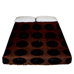 Circles1 Black Marble & Dull Brown Leather Fitted Sheet (queen Size) by trendistuff
