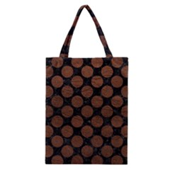 Circles2 Black Marble & Dull Brown Leather (r) Classic Tote Bag by trendistuff