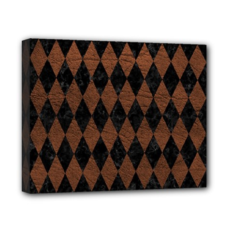 Diamond1 Black Marble & Dull Brown Leather Canvas 10  X 8  by trendistuff