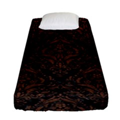 Damask1 Black Marble & Dull Brown Leather (r) Fitted Sheet (single Size) by trendistuff