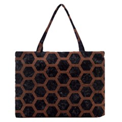 Hexagon2 Black Marble & Dull Brown Leather (r) Zipper Medium Tote Bag by trendistuff
