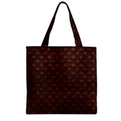 Scales2 Black Marble & Dull Brown Leather Zipper Grocery Tote Bag by trendistuff