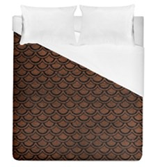 Scales2 Black Marble & Dull Brown Leather Duvet Cover (queen Size) by trendistuff