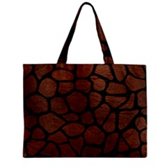 Skin1 Black Marble & Dull Brown Leather (r) Zipper Mini Tote Bag by trendistuff