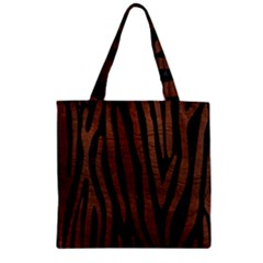 Skin4 Black Marble & Dull Brown Leather Zipper Grocery Tote Bag by trendistuff