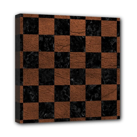 Square1 Black Marble & Dull Brown Leather Mini Canvas 8  X 8  by trendistuff