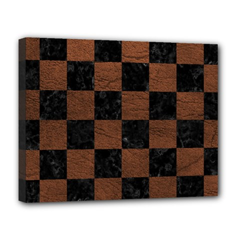 Square1 Black Marble & Dull Brown Leather Canvas 14  X 11  by trendistuff