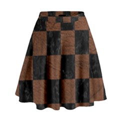 Square1 Black Marble & Dull Brown Leather High Waist Skirt by trendistuff