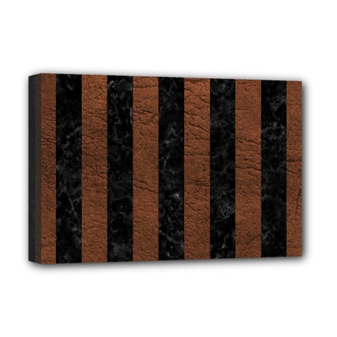 Stripes1 Black Marble & Dull Brown Leather Deluxe Canvas 18  X 12   by trendistuff