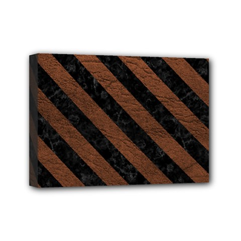 Stripes3 Black Marble & Dull Brown Leather Mini Canvas 7  X 5  by trendistuff