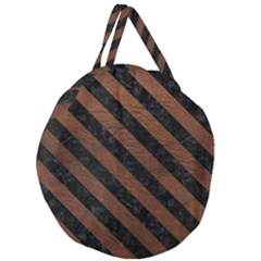 Stripes3 Black Marble & Dull Brown Leather Giant Round Zipper Tote by trendistuff