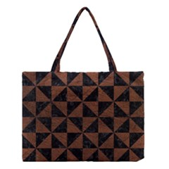 Triangle1 Black Marble & Dull Brown Leather Medium Tote Bag by trendistuff