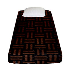 Woven1 Black Marble & Dull Brown Leather (r) Fitted Sheet (single Size) by trendistuff