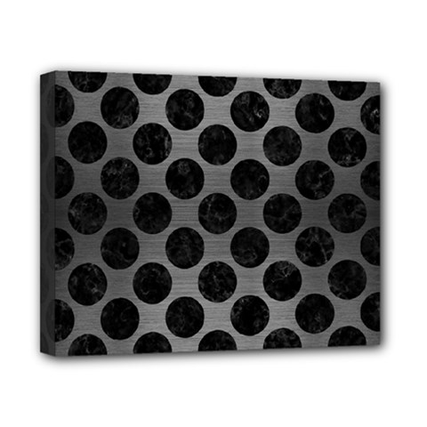 Circles2 Black Marble & Gray Brushed Metal Canvas 10  X 8  by trendistuff