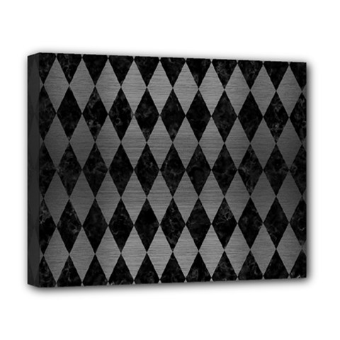 Diamond1 Black Marble & Gray Brushed Metal Deluxe Canvas 20  X 16   by trendistuff