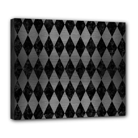 Diamond1 Black Marble & Gray Brushed Metal Deluxe Canvas 24  X 20   by trendistuff