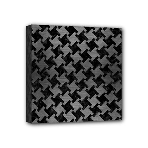 Houndstooth2 Black Marble & Gray Brushed Metal Mini Canvas 4  X 4  by trendistuff