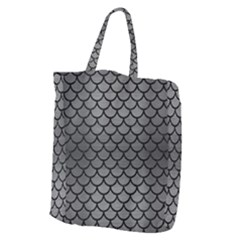 Scales1 Black Marble & Gray Brushed Metal Giant Grocery Zipper Tote by trendistuff
