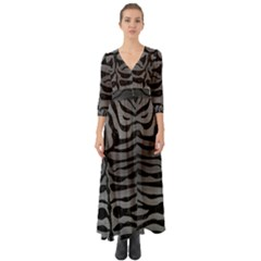 Skin2 Black Marble & Gray Brushed Metal Button Up Boho Maxi Dress