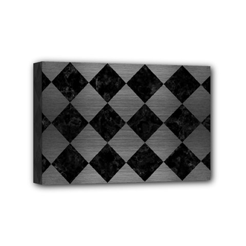 Square2 Black Marble & Gray Brushed Metal Mini Canvas 6  X 4  by trendistuff