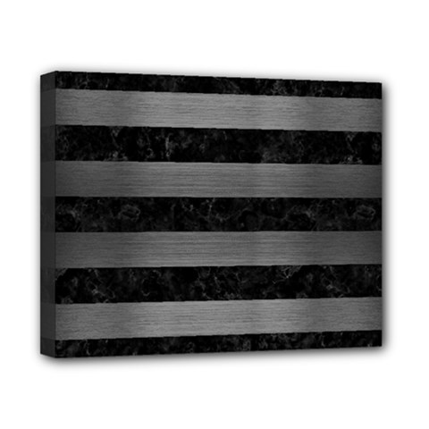Stripes2 Black Marble & Gray Brushed Metal Canvas 10  X 8  by trendistuff