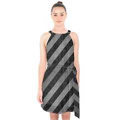 Stripes3 Black Marble & Gray Brushed Metal (r) Halter Collar Waist Tie Chiffon Dress
